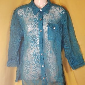 Chico's see thru turquoise 3/4 sleeve blouse